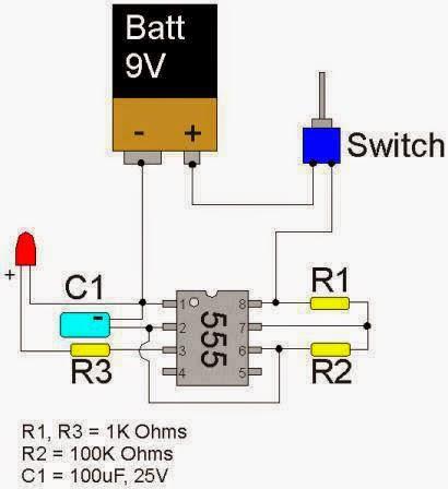 LED Flasher Circuit using 555 timer IC