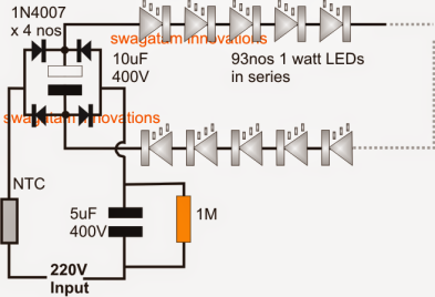 100 watt led bulb circuit